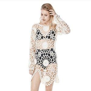 UNIF Astra Beige crochet dress